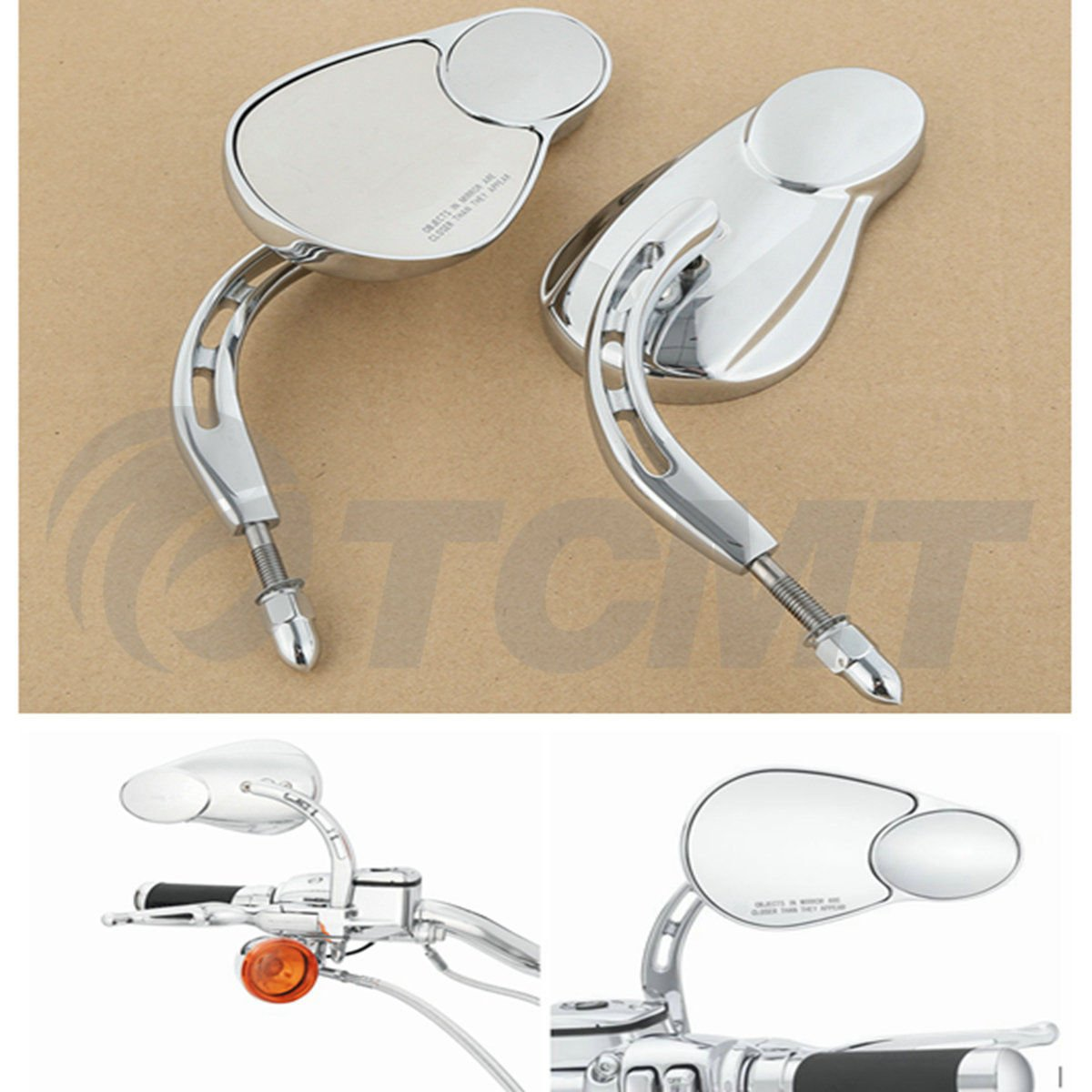 TCMT 8mm Double Rear View Side Mirrors For Harley FLHT FLHR Road King FLHTC Classic