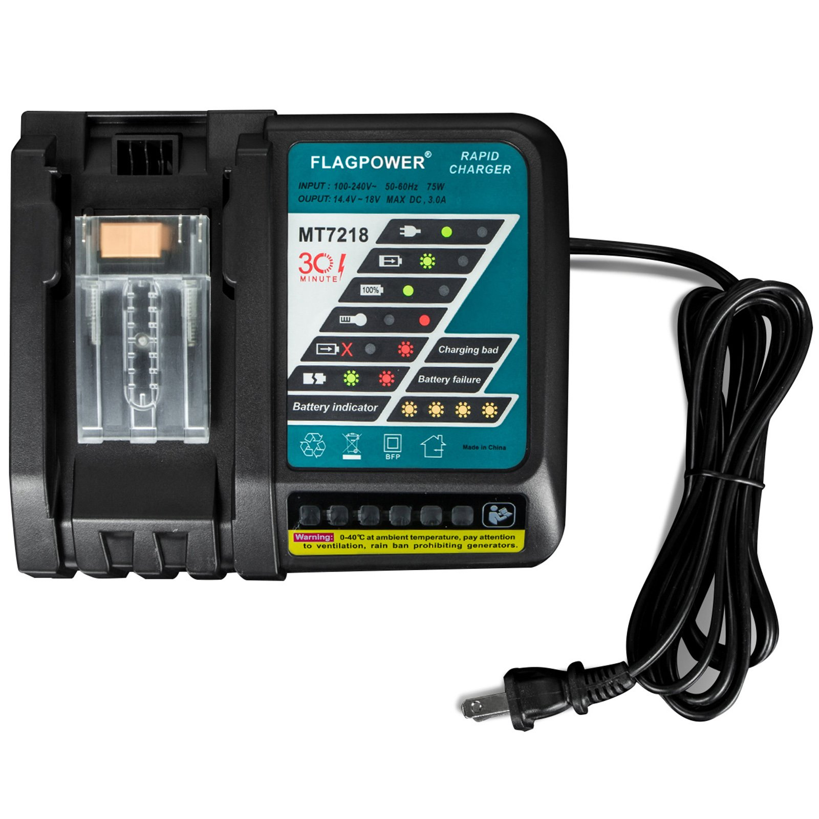 FLAGPOWER DC18RC Lithium-Ion Battery Charger for Makita 14.4V-18V Li-Ion Battery BL1830 BL1815 BL1840 150W High-Power Cooling Fan Inside