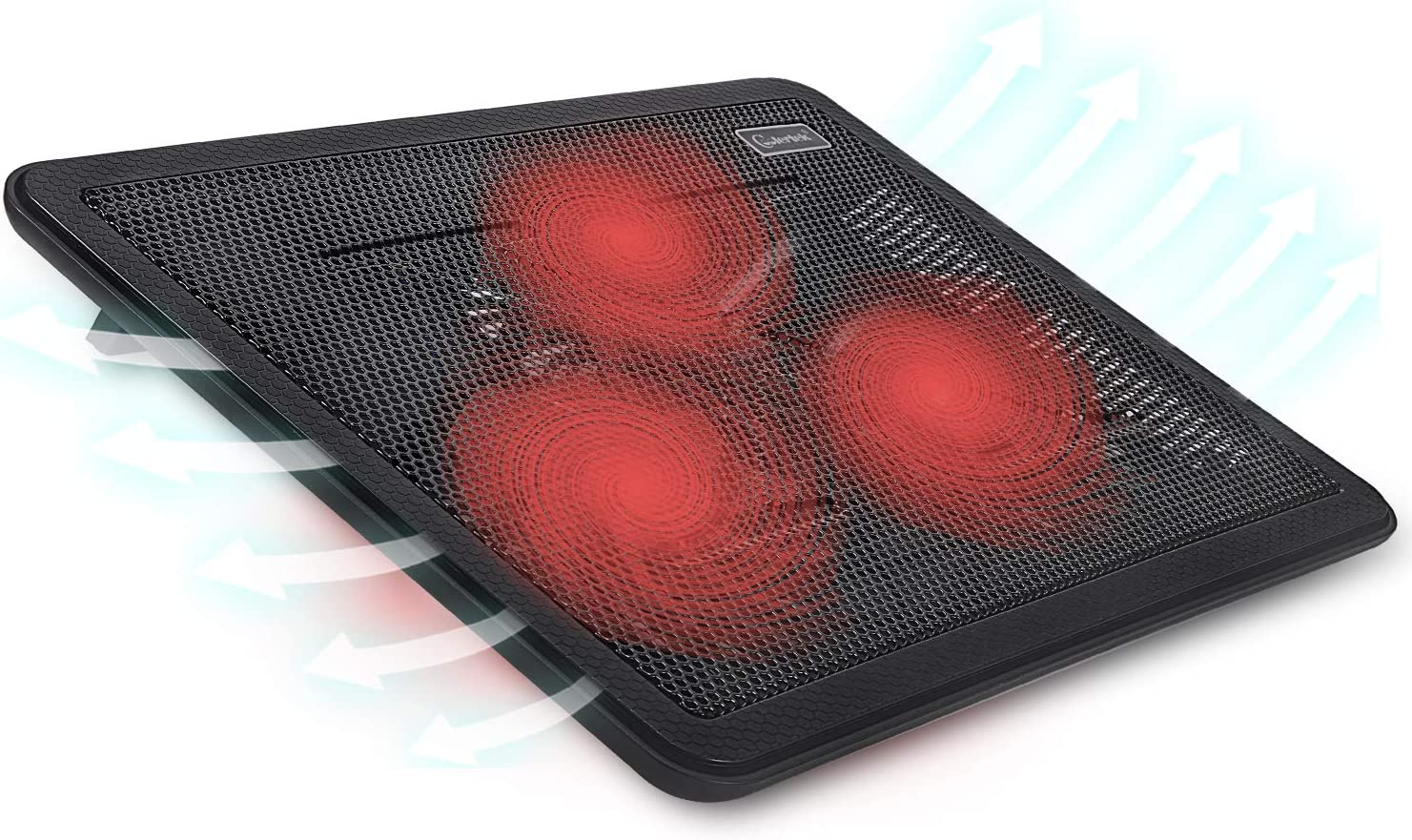 "Laptop Cooling pad-for 15""-17"" Computers,Portable Ultra-Thin Silent Cooling pad, with 2 USB Ports, 3 red LED Silent Fans, Adjustable Bracket, Extra Long Standby for Work"