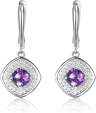Teardrop Amethyst Necklace High Quliaty Luxury Full 925 Sterling Silver White Sapphire Accent Halo Every  day Natural Amethyst Pendant