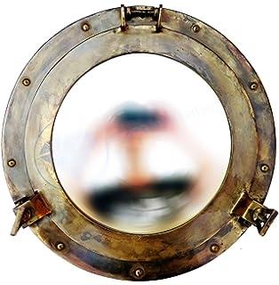 Punctual Vintage Maritime Brass Antique Porthole Ship Window Wall Mirror Nautical Decor Maritime