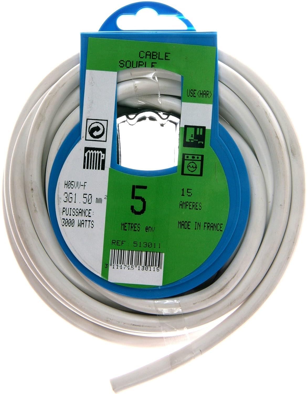 Profiplast PRP513011 Couronne de c/âble 5 m ho5vvf 3 g 1,5 mm Blanc