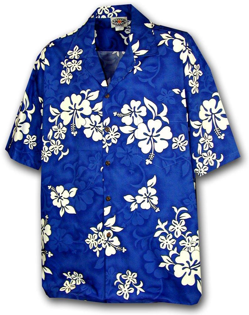 Hawaiian Shirt for Boys - Blue w/ White Flowers, X-Large
