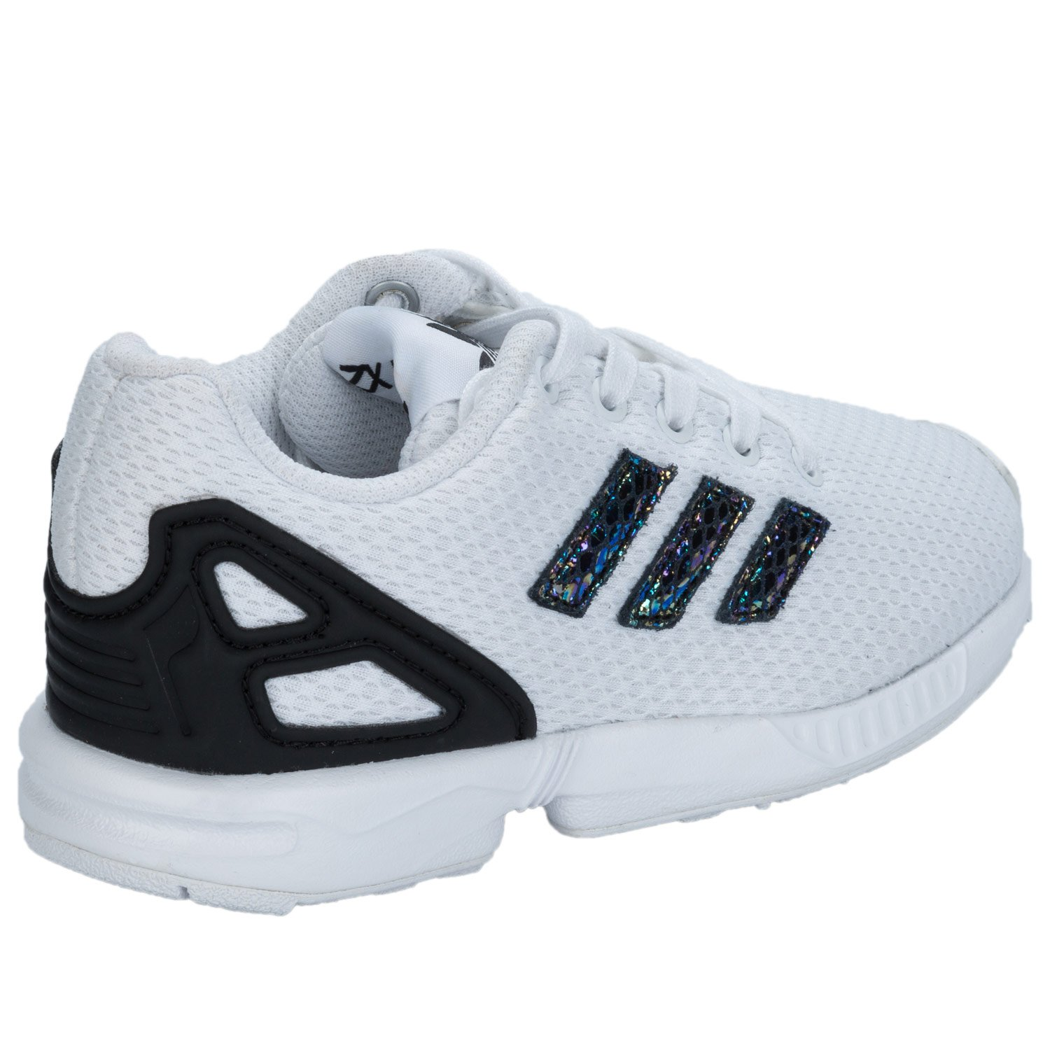 31df7b89fd2f2 adidas Children Girls Originals Zx Flux Metallic Snake Trainers in White   Amazon.co.uk  Shoes   Bags