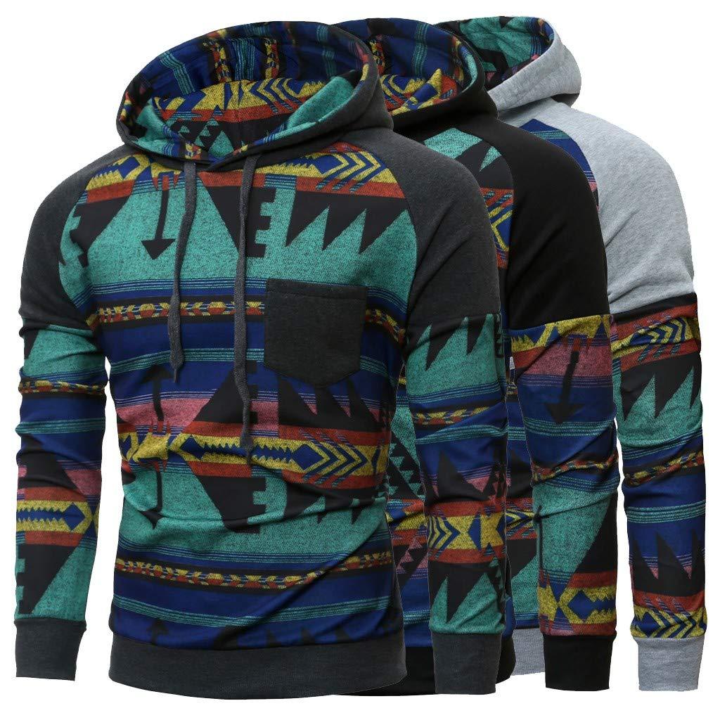 TAGGMY Pullover for Men Fashion Lovers Casual Stylish Printed Long Sleeves Hoodies Spring Sweatshirt Black Gray Medium XXL