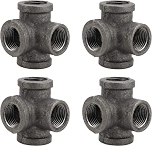 HighFree 4 Pack Malleable Iron 4 Way Pipe Fitting 1/2 inch Vintage Style Threaded Pipe Nipples for DIY Decor Or Industrial Vintage Style