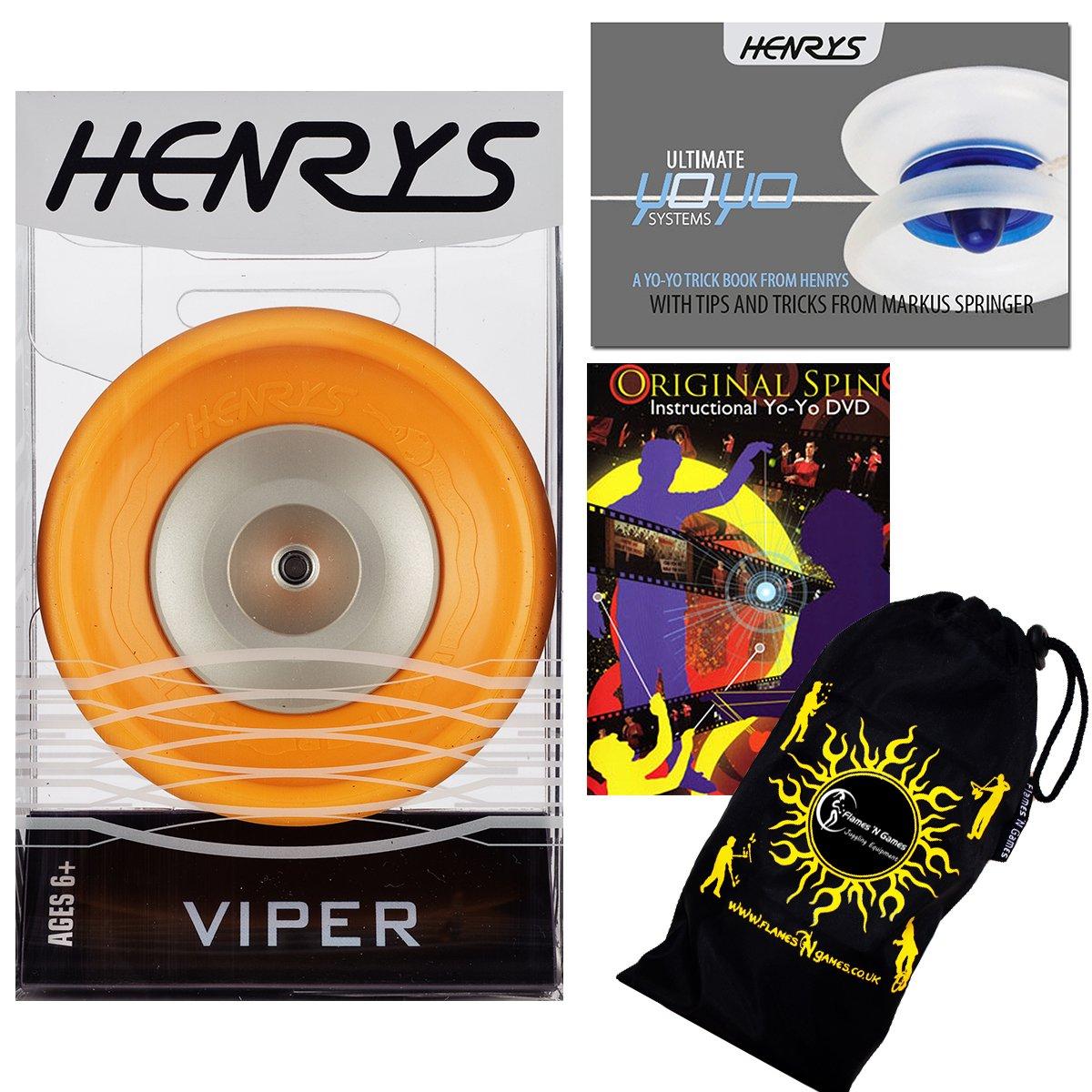 Henrys VIPER YoYo (Orange) Professional Ball Bearing YoYo +Instructional Booklet of Tricks + 75 Yo-Yo Tricks DVD & Travel Bag! Pro YoYos For Kids and Adults!