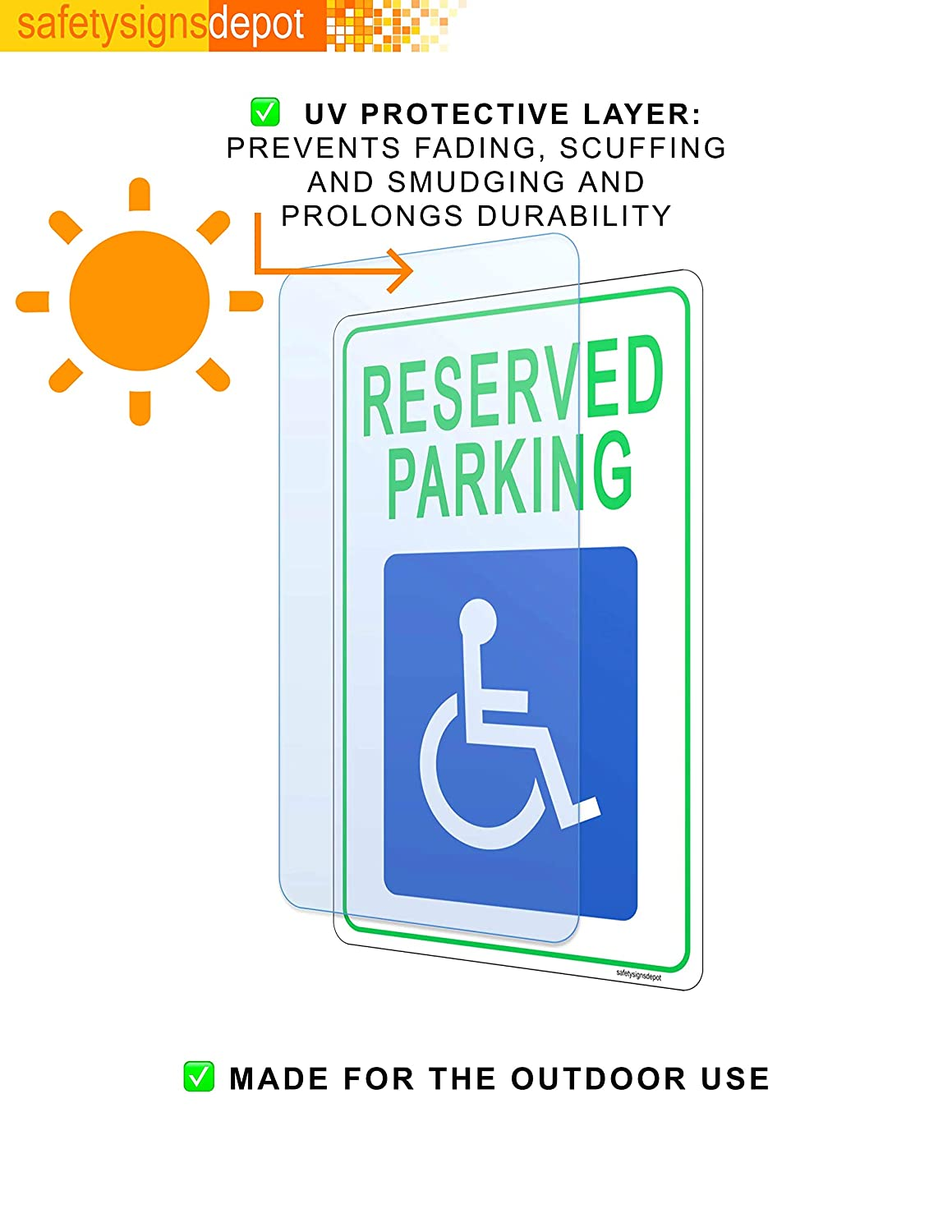 x 12 in Plastic Handicapped Disabled Parking Sign 8 in