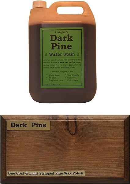 Tinte para madera a base de agua de Littlefairs, respetuoso con el medio ambiente, Pino oscuro, 5ltr