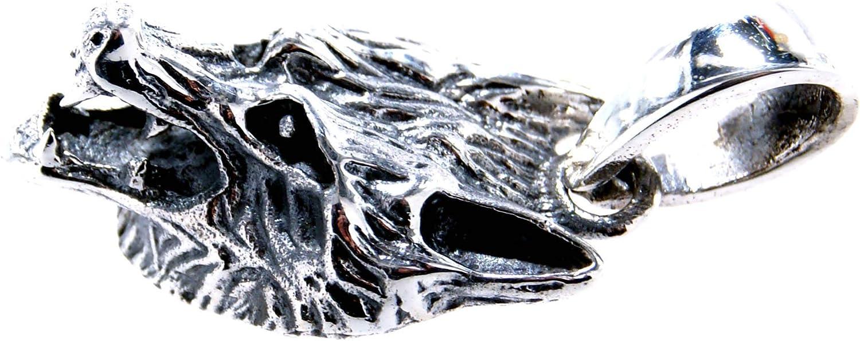 Kiss of Leather Pendentif t/ête de Loup en Argent Sterling 925 n/°7A