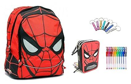 Mochila Escolar Spiderman Equipada Redonda + Estuche de 3 ...