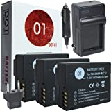 3x DOT-01 Brand Leica Q (TYP 116) Batteries and Charger for Leica Q (TYP 116) Camera and Leica Q (TYP 116) Battery and Charger Bundle for Leica BPDC12 BP-DC 12