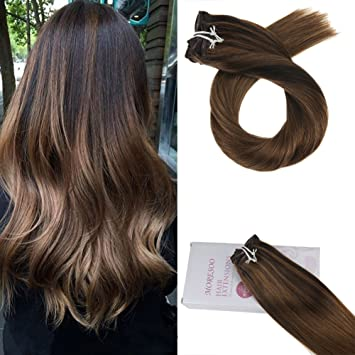 Moresoo 24 Zoll Balayage Double Weft Clip Remy Haarverlängerung Dunkelbraun2 Zu 8 Highlighted With 8 Remy Braun Ombre Glatt Clip In Hair