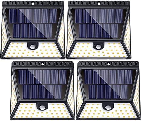 Sensor De Movimiento Para Exteriores Con Iluminación De Gran Angular 82 Luces Solares Al Aire Libre Luz De Pared Impermeable Inalámbrica Luz Nocturna De Seguridad Para Escalera De Jardín Escalera Valla