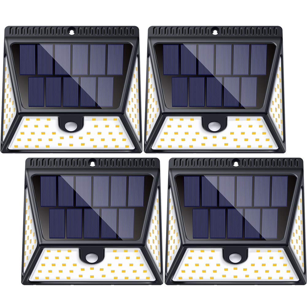 Motion Sensor Solar Light Outdoor with Wide Angle Illumination,82 LEDs Outdoor Solar Lights Waterproof Wall Light Wireless Security Night Light for Driveway Garden Step Stair Fence Deck - 4pack