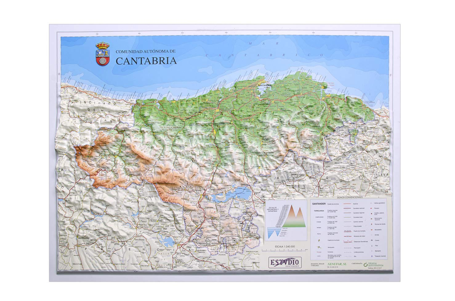 Mapa en relieve de Cantabria: Escala 1:240.000: Amazon.es: All 3D Form, S.L.: Libros