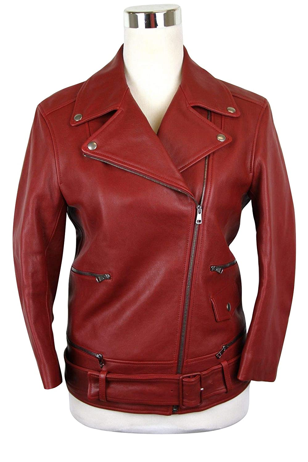 678ea1530 Amazon.com: Gucci Women's Quilted Lining Red Biker Leather Jacket ...