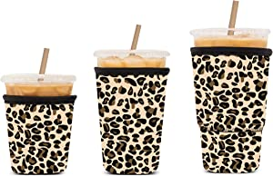 Kiatoras 3 Pack Reusable Iced Coffee Sleeve Cozy Drink Sleeve Sublimation Neoprene Insulator Cup Sleeve for Cold Drinks Beverages Holder for Starbucks Coffee, McDonalds, Dunkin Donuts, More(Leopard)