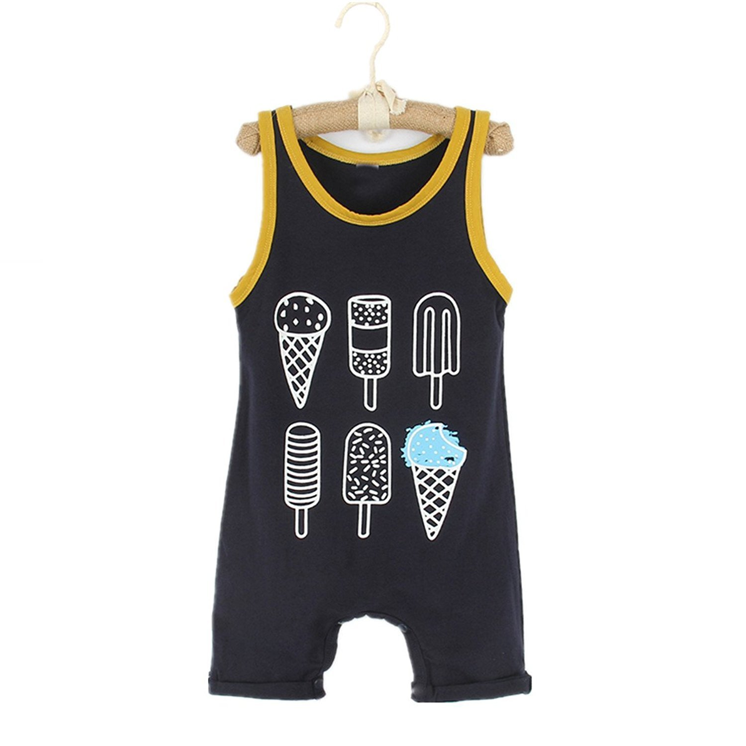 Younger Tree Toddler Baby Boy Girl Romper Sleeveless Ice Cream Print Jumpsuit Summer Clothes Set (Black, 18-24 Months)