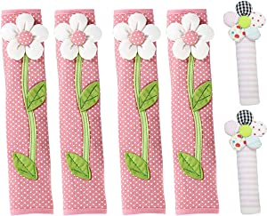 LSJDEER 6 Pack Refrigerator Door Handle Covers Kitchen Appliance Protective Gloves Anti-Slip Cloth Protector for Dishwasher Microwave Oven (Pink)