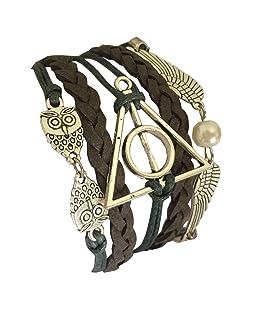 D'amelie Harry Potter - Pulsera tema gótico/punk, diseño de las reliquias de la muerte, búhos, snitch dorada y alas de búhos chapadas en plata.