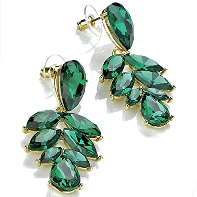 2f6f3a4b7 Women's eye catching costume jewellery gold plated emerald green coloured  diamante stone 5cm long drop stud earrings: Amazon.co.uk: Jewellery