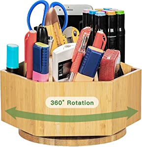 Houtingmaan Bamboo Office Supplies Organizer, 360 Degree Rotating Organizer with 7 Sections for Office Stationary, Like Pens, Marking Pens, Book Sewer, Knife, Clips, Sticky Notes and Calculator.