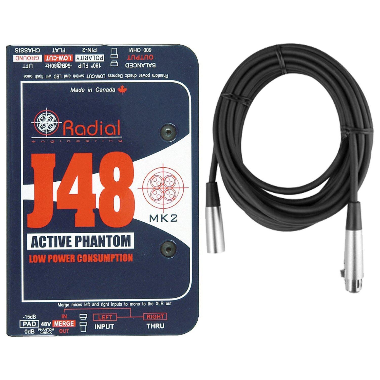 Radial Engineering J48 MK2 48V Phantom Power Active Direct Box DI w/ Mic Cable