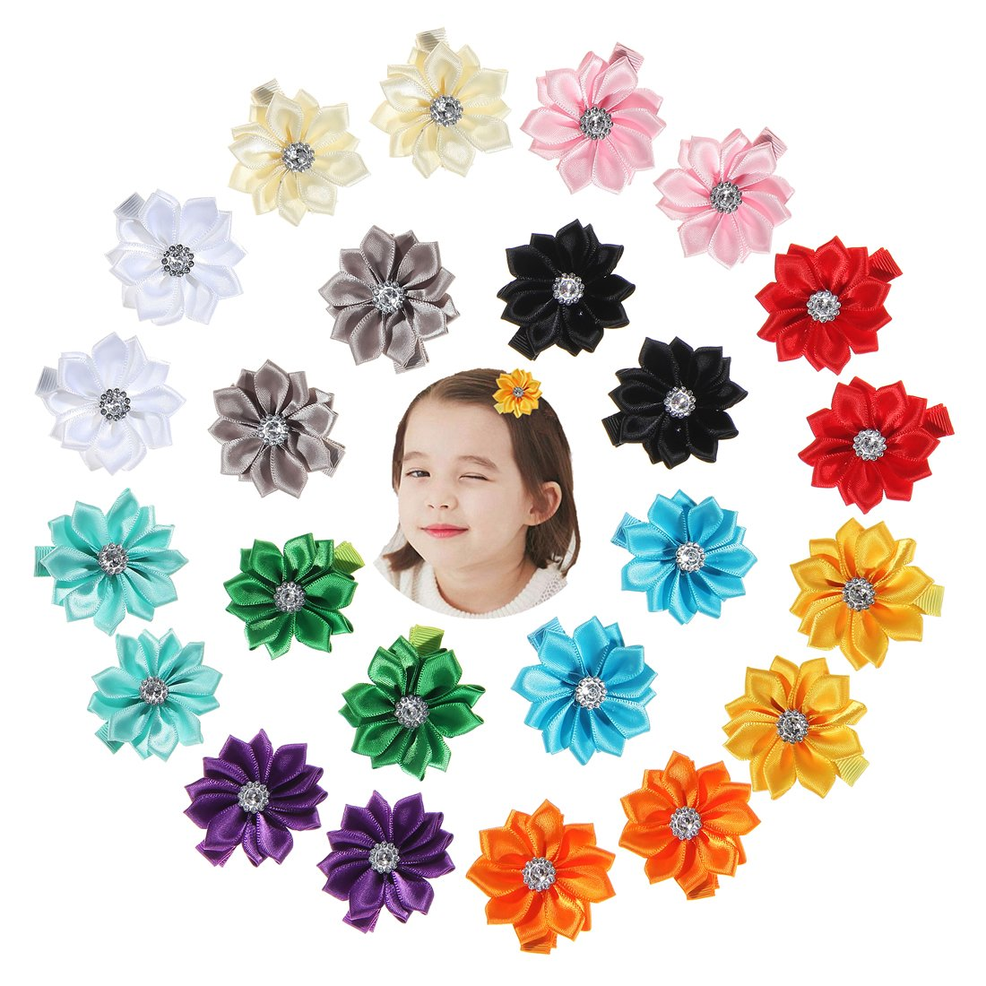 inSowni 12 Pairs Alligator Hair Clips Satin Flower with Rhinestone for Baby Girl Toddlers (C12)