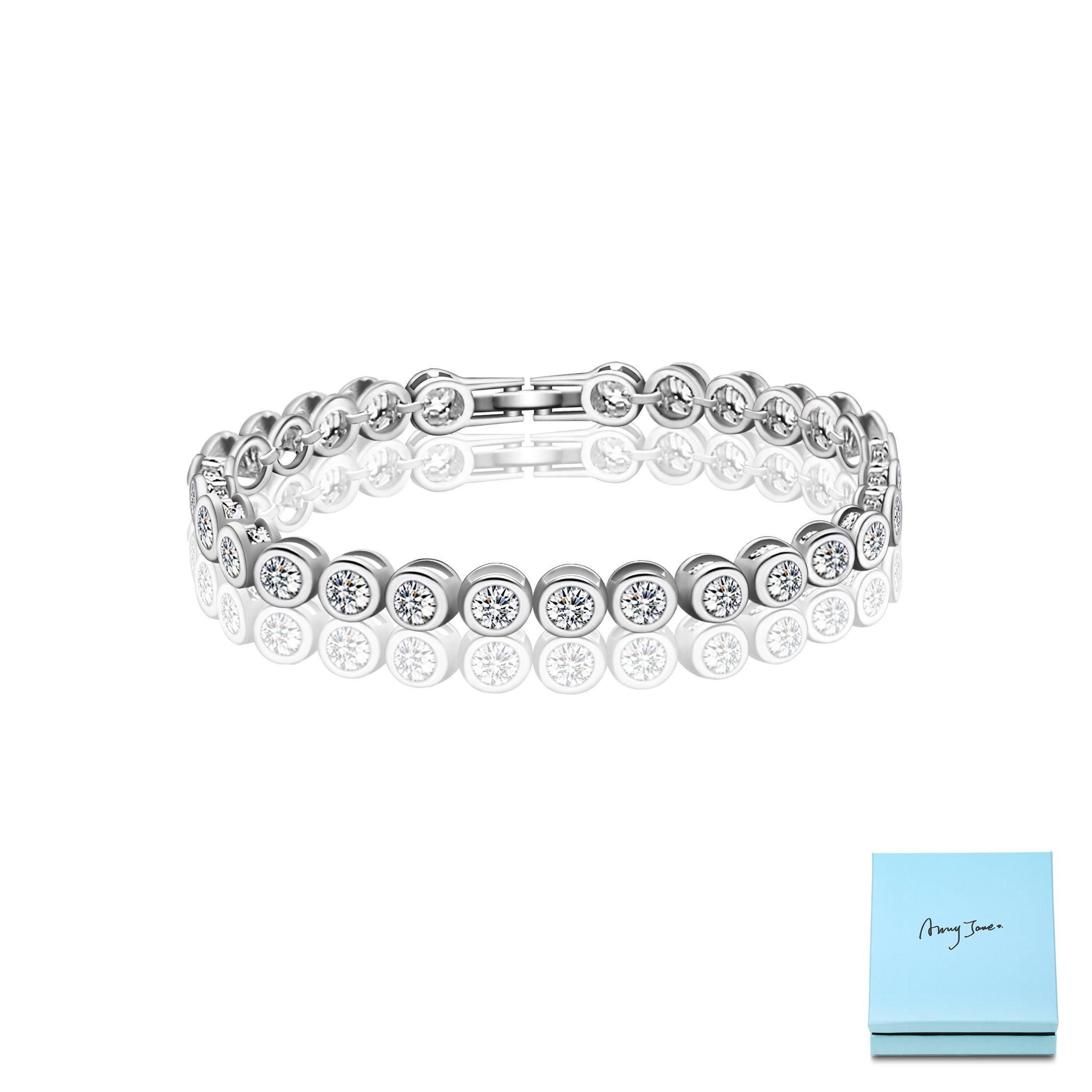 AMYJANE CZ Tennis Bracelet for Woman - Round Swarovski Elements Crystal Cubic Zirconia Bridesmaids Gift Bracelet for Wedding Bridal Jewelry for Small Wrist