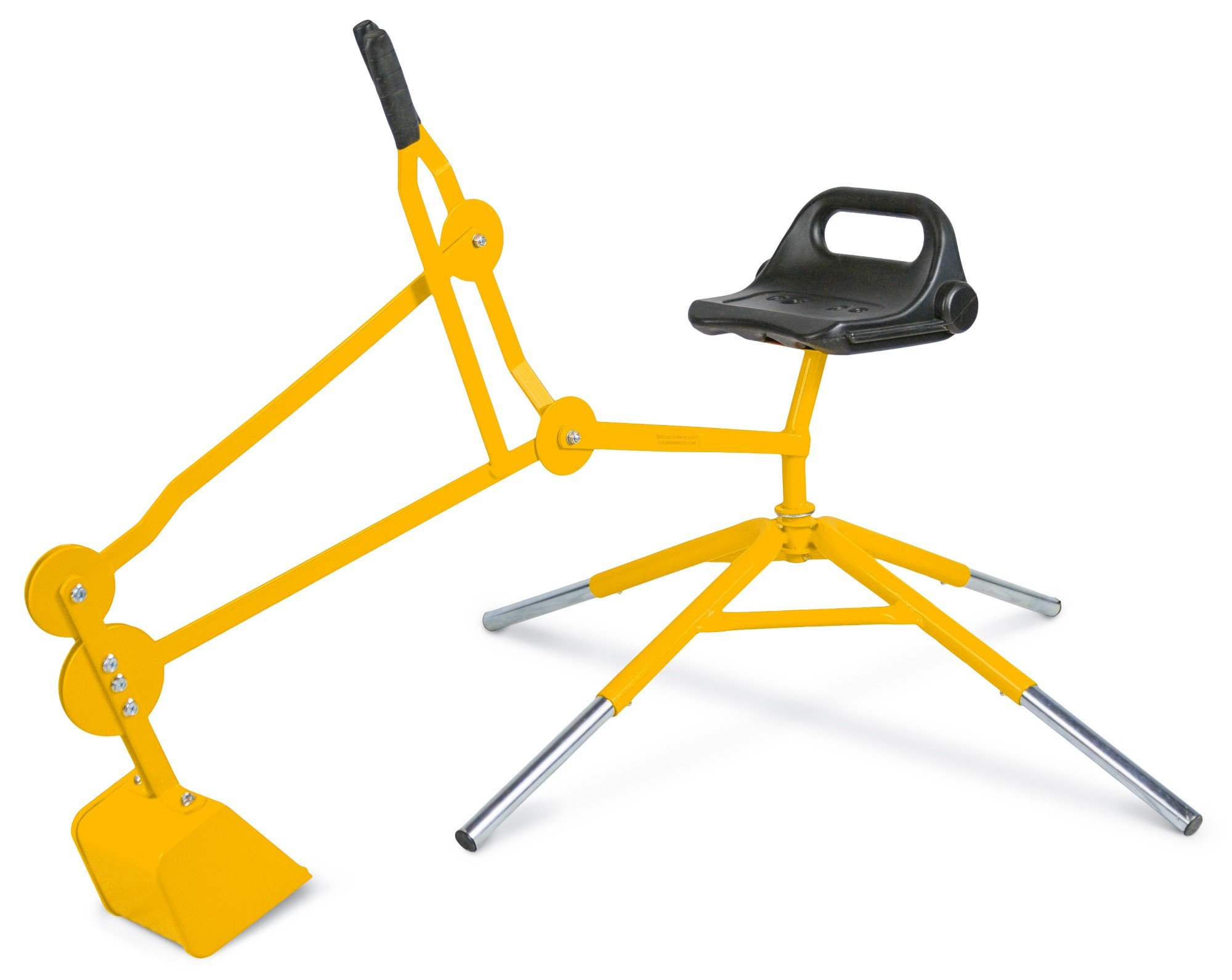 Childrensneeds.com Digger Toy with Telescoping Adjustable Legs That Raise Seat Height and Stabilize Backhoe for Digging (Yellow) by Childrensneeds.com