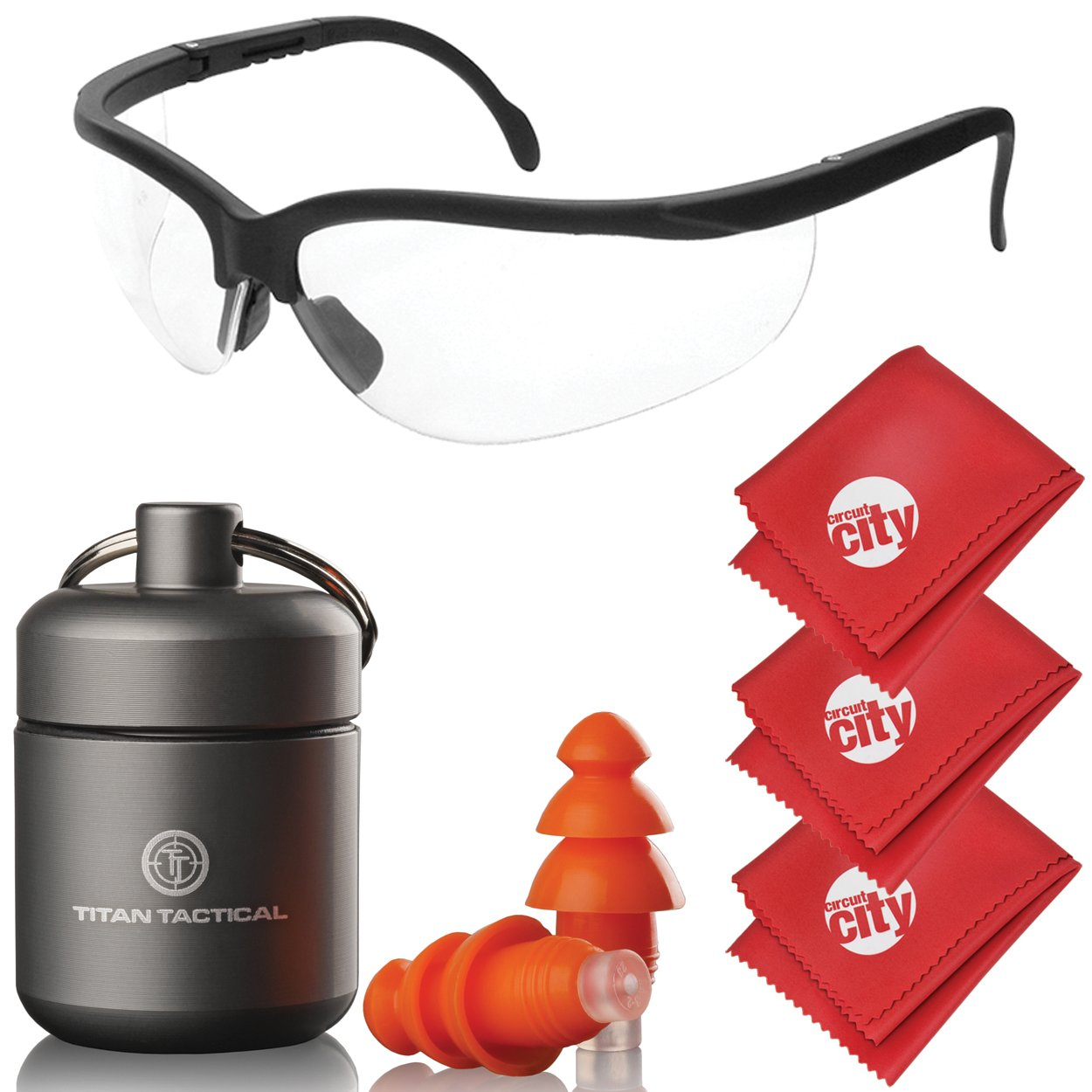 Titan Tactical Eyes + Ear Protection Kit w/29NRR Reusable Shooting Ear Plugs + Mil-Spec Clear Range Ballistic Glasses (for Normal + Small Ear Canals) by Titan Tactical