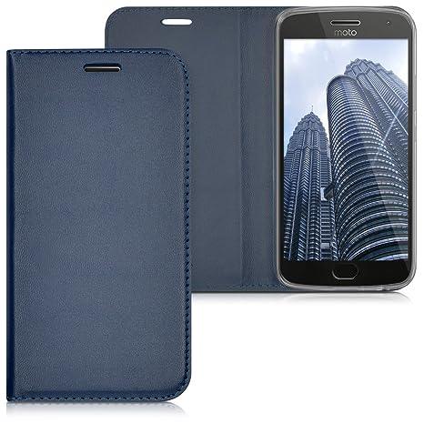 kwmobile Funda para Motorola Moto G5 Plus - Carcasa para móvil de [Cuero sintético] - Case [Plegable] en [Azul Oscuro]