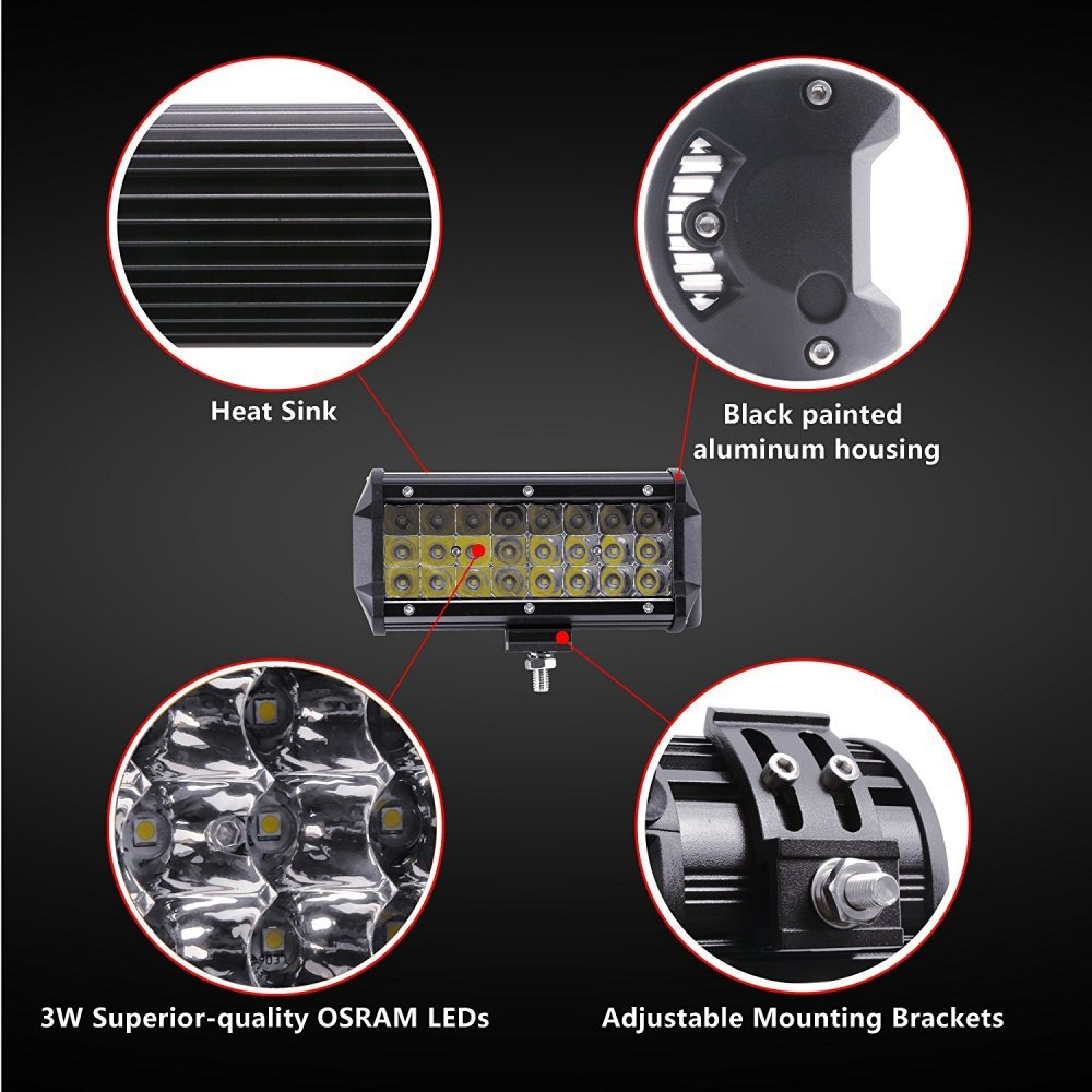 todoterreno barco cami/ón tractor 4 Pulgadas 36W 2 x 36W 5 Inch Focos de Coche LED Potentes WANYI Faro de trabajo LED off-road 5500LM Resistente al agua IP67 Faros Adicionales para Moto