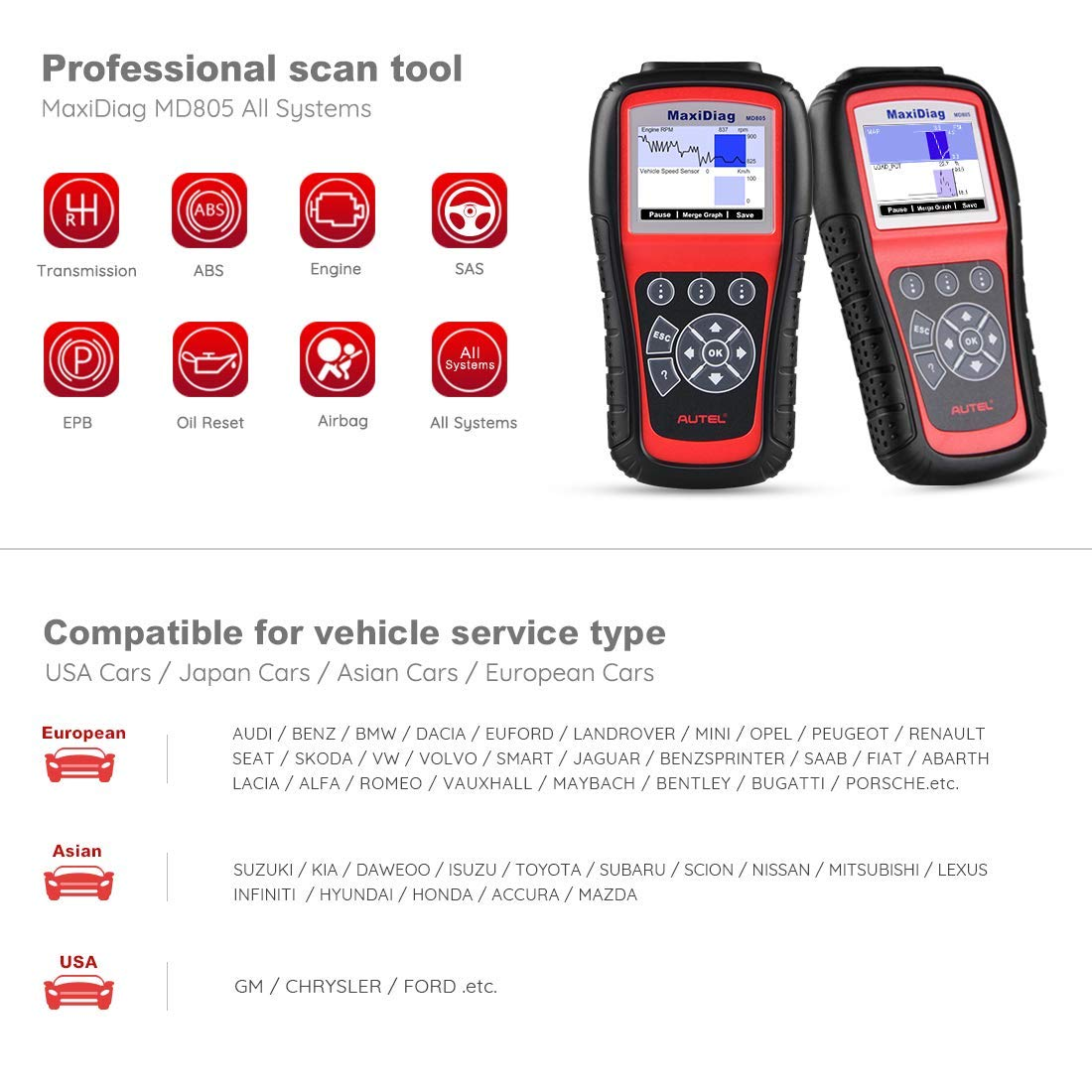 Autel MaxiDiag MD805 OBD2 Scanner Full System Diagnostic Tool with Engine, Transmission, ABS, Airbag, EPB, Oil Reset -Advanced Version of MD802 by Autel (Image #3)