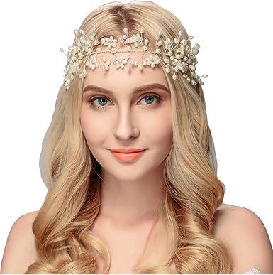 ab4dd36b Amazon.com: Bella-Vogue Jewelry Fashion white pearl beads head chain ...