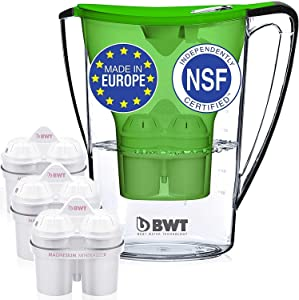 BWT Premium Water Filter Pitcher with 3 (60 Day) Filters Included, Award Winning Austrian Quality, Technology For Superior Filtration & Taste