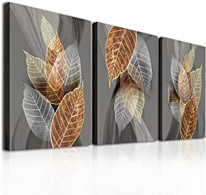 Canvas Wall Art For Living Room Family Wall Decorations For Kitchen Modern Bathroom Wall Decor Black Paintings Abstract Leaves Pictures Artwork Inspirational Canvas Art Bedroom Home Decor 3 Pieces