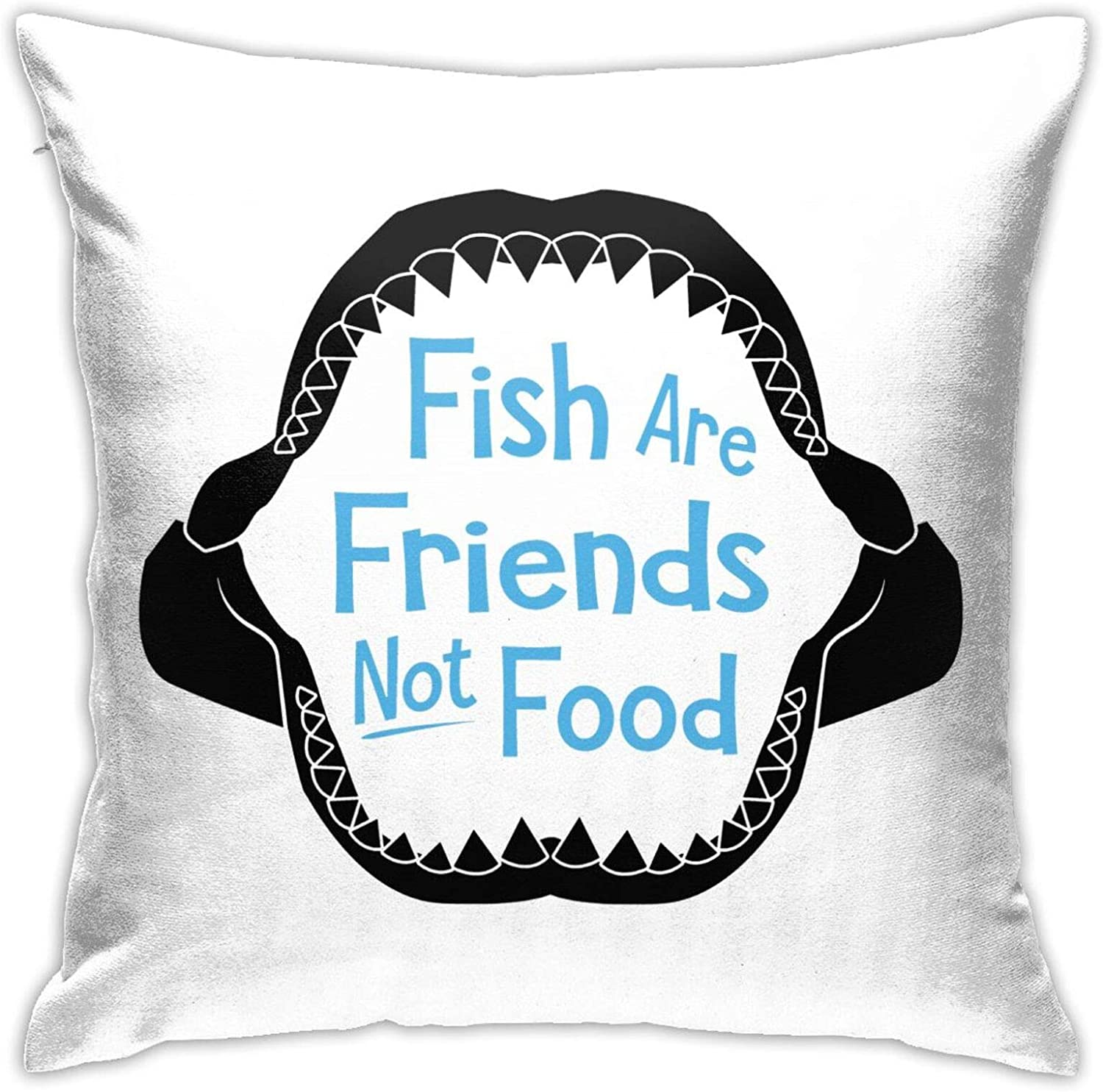Fish are Friends Not Food Square Throw Pillow Case with Zipper, Throw Pillow Case Cushion Cover Home/Office Sofa Decor 22x22 Inch