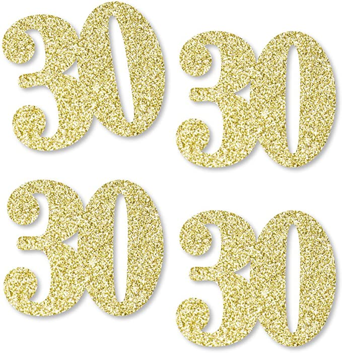 30th Birthday Decor Number and Circle Confetti in Glitter Gold and Coral 50 CT.