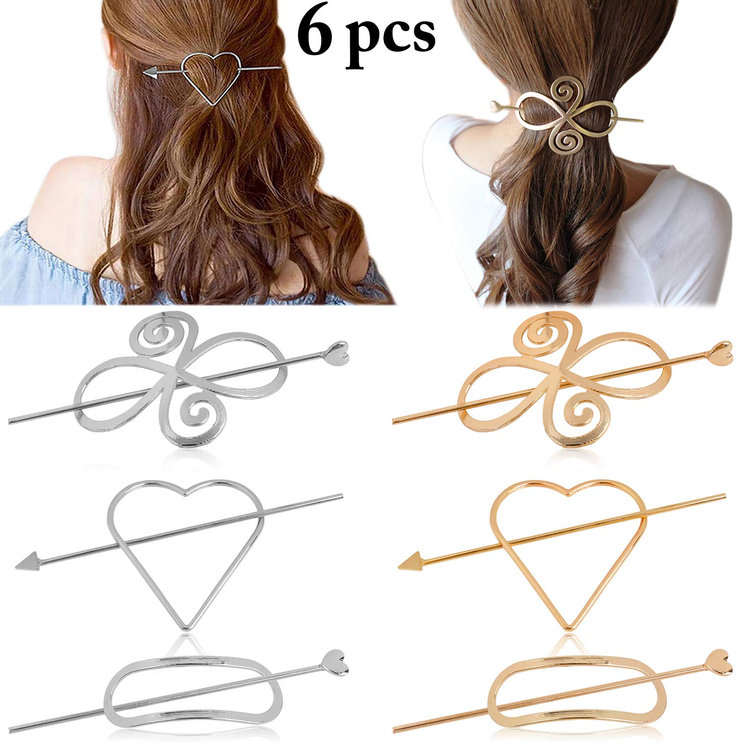 Women Hairpins, Fascigirl 6 PCS Assorted Creative Alloy Geometric Dainty Hair Barrette Hair Pin Hair Styling Accessories Hair Clips for Women Girls