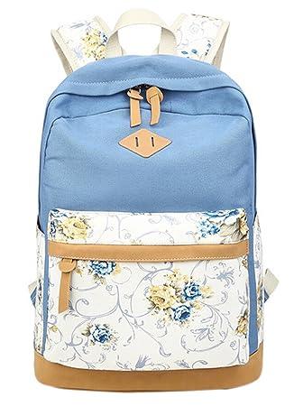 30279047e5e DATO Bolso Mochilas Escolares Estampado de Flores Mochila de Lona para  Mujer Moda Juvenil Grand Capacidad Viaje Mochilas Tipo Casual Backpacks   Amazon.es  ...