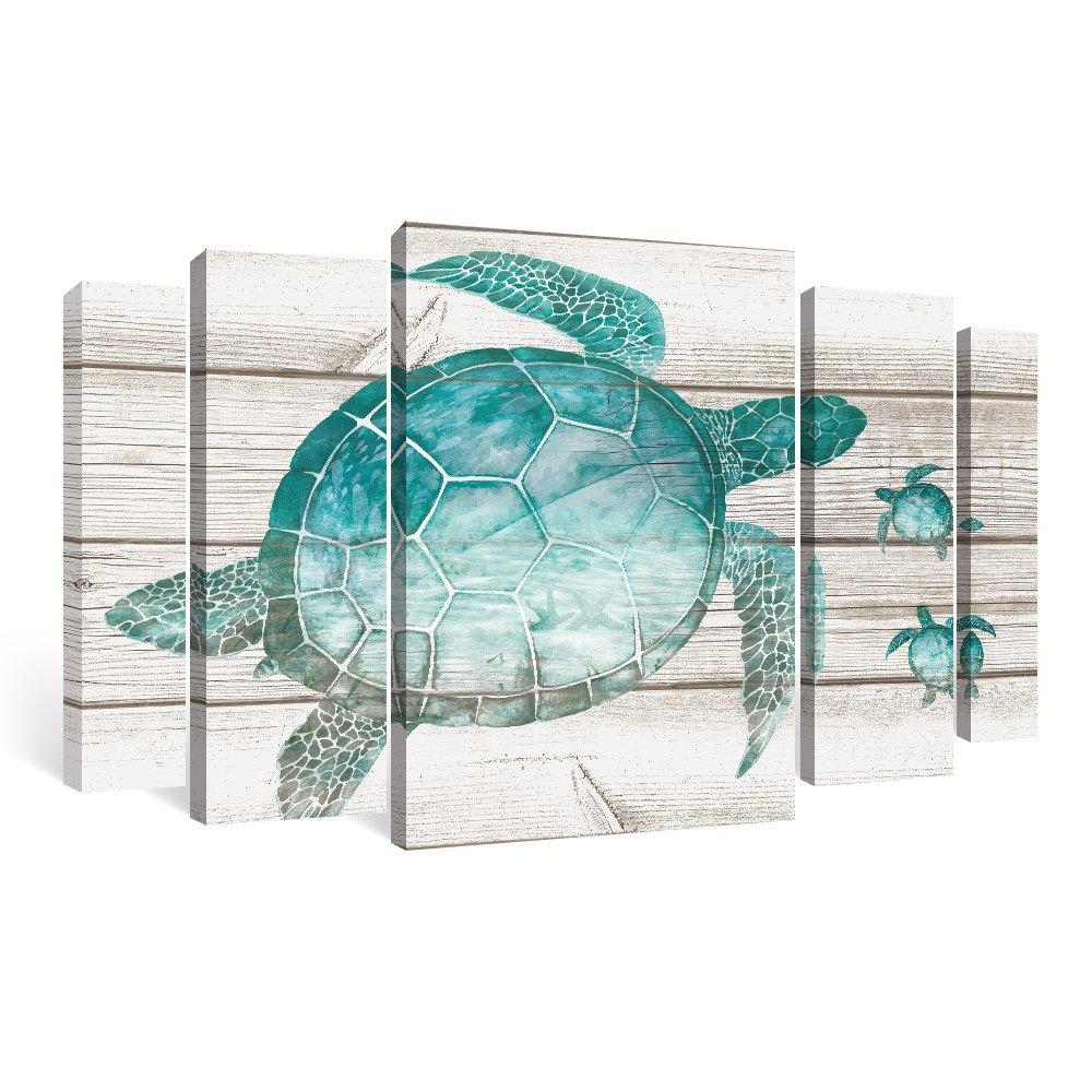 SUMGAR Framed Wall Art Living Room Beach Pictures Teal Bathroom Decor Ocean Large Paintings Sea Turtle 5 Piece