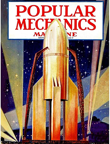 Magazine Cover Science Mechanics Rocket Plane Space 12X16 Inch Framed Art Print