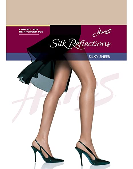 7dc6fd14137bb Image Unavailable. Image not available for. Color: Hanes Women`s Silk  Reflections Control Top Reinforced Toe ...