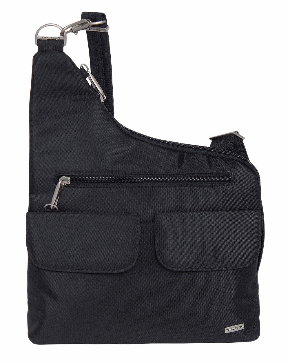 Travelon Anti-Theft Classic Crossbody Bucket Bag (One Size, Black w/Paisley Lining)