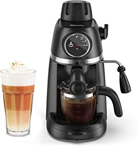 Sboly Steam Espresso Machine with Milk Frother, 1-4 Cup Coffee Maker with Thermometer, Latte Cappuccino Machine Includes Carafe, No Apply to Use Fine Ground Coffee