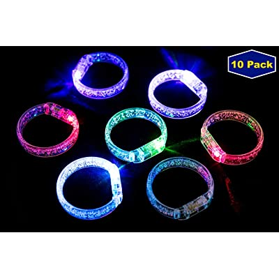 Midafon 10Pcs Led Bracelets Light Up Party Favors Glow Toys Supplies: Toys & Games