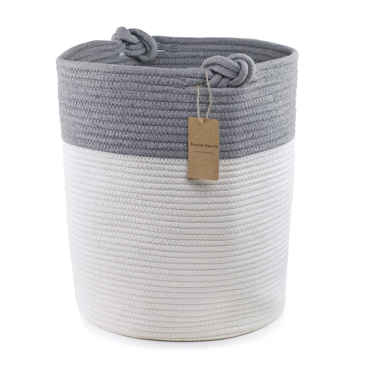 Extra Large Cotton Rope Basket. 18inx15in Size - Perfect as a Storage Basket or Laundry Basket, Toy Storage, Blankets Storage. TaylorCrafts taylorBasket1