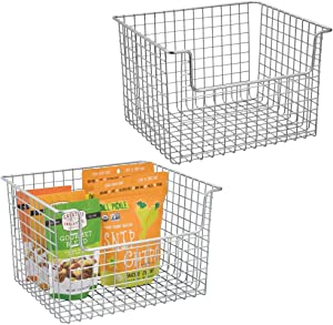 mDesign Metal Kitchen Pantry Food Storage Organizer Basket - Farmhouse Grid Design with Open Front for Cabinets, Cupboards, Shelves - Holds Potatoes, Onions, Fruit - 2 Pack - Chrome